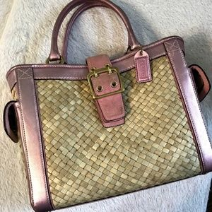 COACH Woven Tote Bag with Metallic Pink and Gold